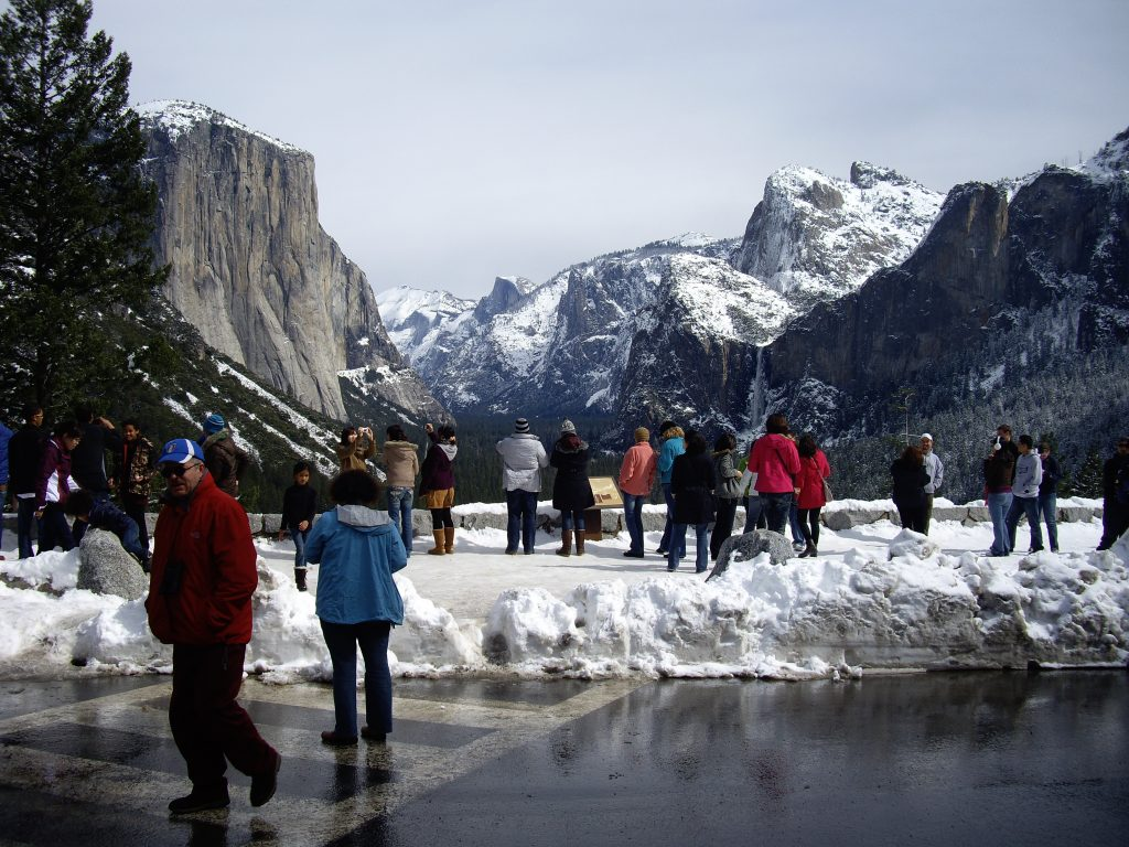 Capitan and Half Dome crowded