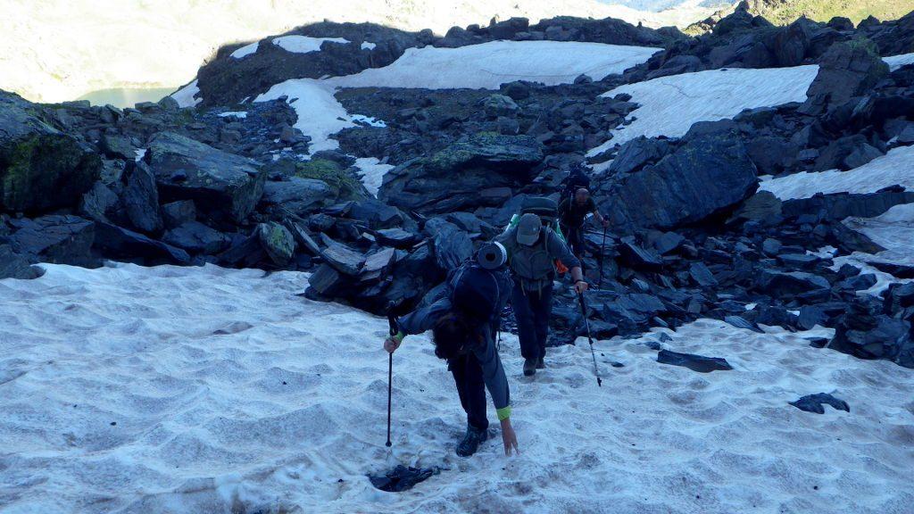 Nieve dura subiendo Port Baiau